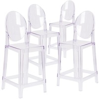 4 Pk. Ghost Counter Stool in Transparent Crystal with Oval Back
