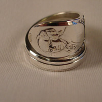 A Spoon Rings Plus President John Adams Spoon Ring Size 10 Wrapped Vintage Spoon and Fork Rings t629