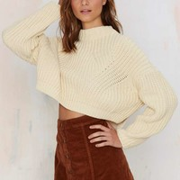 Power Wrap Ribbed Crop Sweater
