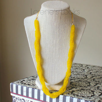 Chunky Yellow Twist Seed Bead Necklace/Beaded/Twisted Necklace/Womens/Bold/Statement/Gift for Her/Boho/Bright/Colorful/