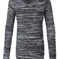 LE3NO Womens Two Tone Round Neck Long Sleeve Sweater