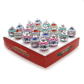 Shiny Brite Christmas Confetti Decorated Rounds Glass Ornament Set 4027456