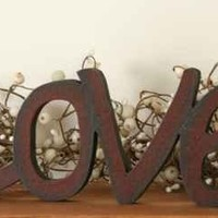 Country Primitive Wooden Shelf Decor Word Sign LOVE