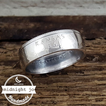 Kansas 90% Silver State Quarter Coin Ring