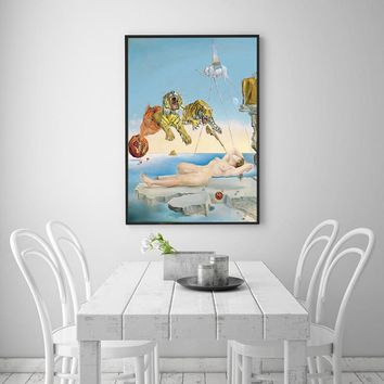 SELFLESSLY Salvador Dali Canvas Painting Abstract Art Surrealism Tiger,Elephant,Girl Wall Art Pictures Print For Living Room