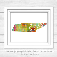 Tennessee Love - TN Canvas Paper Print:  A Modern and Colorful Abstract Watercolor Style Original Art Piece / Home State Love Map