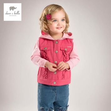 DB4707 davebella spring fall baby girl pink coat hooded coat fashion beautiful outerwear fancy clothes
