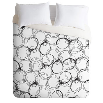 Rachael Taylor Circles White Black Duvet Cover