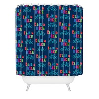 Andi Bird Ride A Bike Sketchy Navy Shower Curtain