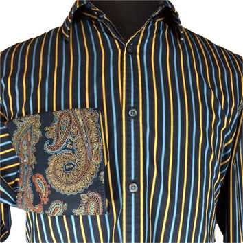 Claiborne John Bartlett Casual Shirt French Cuff Paisley Contrast Black Blue Striped - XL
