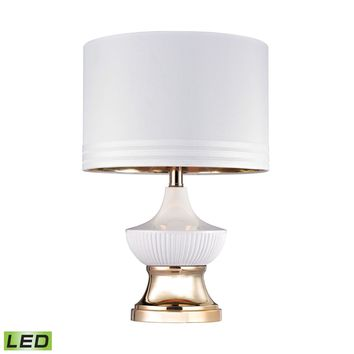 White Ribbed LED Genie Lamp Gloss White,Gold