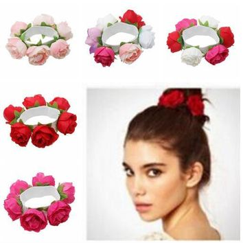 Rose Flower Scrunchies Hair Bands