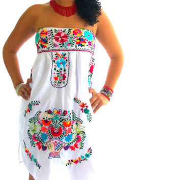 Maria Felix mexican embroidered  strapless  boho dress