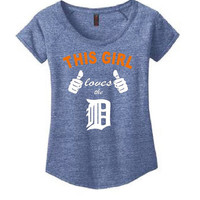 This Girl Loves the D Ladies Scoop Neck T Shirt White and orange original screen printed design Womens Shirt Funny Shirt Free Shipping