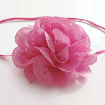 Girls pink flower headband - pink chiffon flower attached to a pink skinny headband, toddler headband