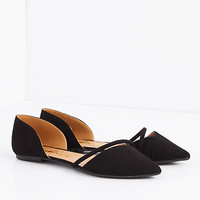 Black Caged Mock Suede D'Orsay Flat by Qupid®