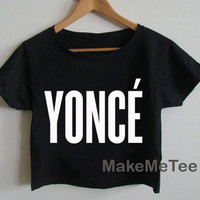 New YONCE Logo Beyonce Yonce Hipster Printed Crop top Tank Top Women Black and White Tee Shirt - MM1