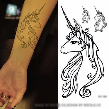 Unicorn Tattoo Temporary Body Art Black Long Horned Horse Large, Medium and Small Included