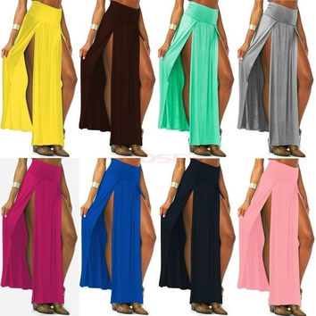 Trends High Waisted Double Slits Sexy Women Maxi Skirt 18579 One Size = 5978920129