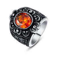 Stainless Steel Vintage Flora Oval Orange-Red Cubic Zirconia Cocktail Ring