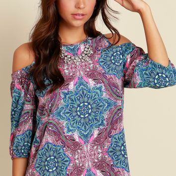 It's Poppin' Paisley Blouse Blue/Red