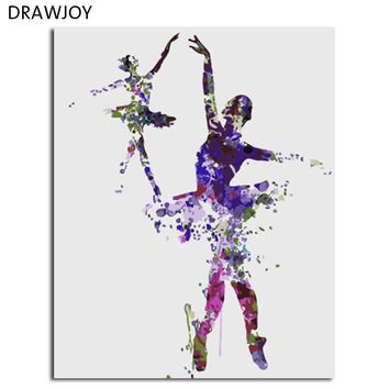 DRAWJOY Framed Ballet Girl DIY Painting By Numbers On Canvas Acrylic Painting Wall Art For Living Room For Home Decor 40x50