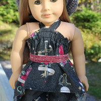 4 piece set! skull! high low shirt, dark ripped skinny jeans,beret style slouch hat, belt 18 inch doll clothes American Girl doll clothes