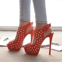 Get Crystallized —  Stiletto Platform Peep Toe Sandals Red