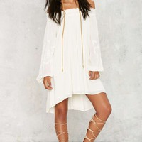 Stitch You Guessed It Embroidered Dress - White