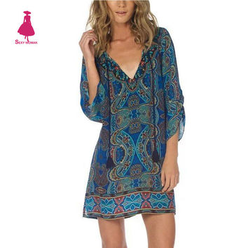 Ethnic Baroque Colorful Palace Paisley Floral Print Tie Neck One Piece Half Sleeve Shift Vintage Gypsy Dress Women Hippie Blue