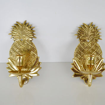Vintage Brass Pineapple Candle holders Wall Sconce Candle Holders