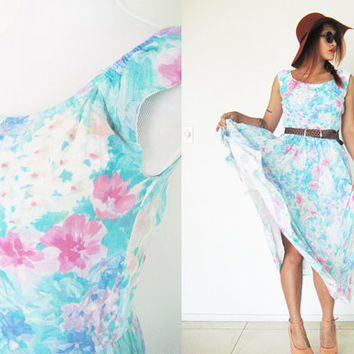 Vintage 60's 70's cotton blue pink watercolor  floral flower sleeveless light madmen full swing skirt hippie bohemian boho summer maxi
