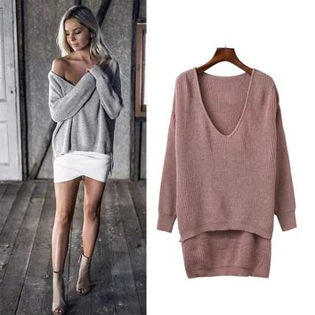 2016 Autumn Women New V-neck Irregular Hedging Sweater Fashion Casual Long Sleeve Sweater AXD1649