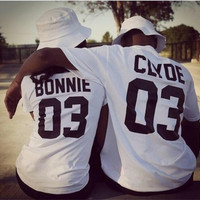 Valentine Shirts Women/Men Bonnie Bonnie 03 CLYDE 03 couples leisure cotton short sleeve T-shirt euro size O neck t-shirts