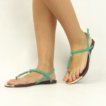 """Gravity"" Braided T-Strap Sandals - Jade"
