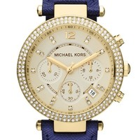 Women's Michael Kors 'Parker' Chronograph Leather Watch, 39mm - Navy/ Gold