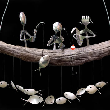 Customize your Flatware Fishing Family and Spoon Fish Wind Chime -