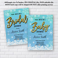 Winter invitation, Winter Snow Flakes  Invitation, Bridal Shower OR Baby Shower OR any party invitation, wedding invitation snow - card 1192