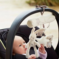 Cute Rabbit baby music hanging bed safety plush toy Stroller Mobile