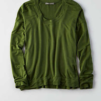 Don't Ask Why Long-Sleeve Terry T-Shirt, Olive