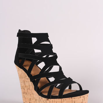 Qupid Nubuck Strappy Caged Open Toe Cork Platform Wedge