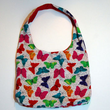 Butterfly purse, shoulder bag, hobo, slouch bag