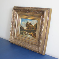 Ornate chunky gold Turner framed art, landscape art, Turner gold frame, decorative frame, gold decor