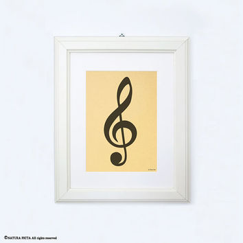 Treble clef print-music print-gold print-treble clef gold print-gift for musician-home decor-print-music studio decor-by NATURA PICTA-NPGP09