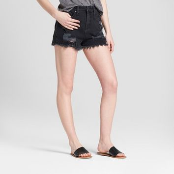 Women's High-Rise Destructed Jean Shorts - Mossimo Supply Co.™ Black 6