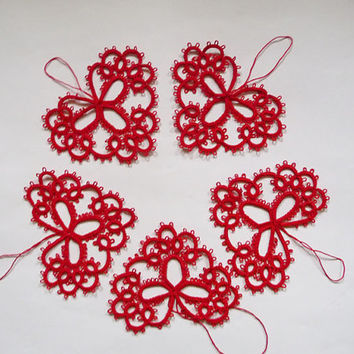 Red tatting heart-Valentine's Day-Wedding decoration-red heart-tatting heart-lace heart