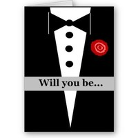 Be My Groomsman Card with Tux and Rose from Zazzle.com