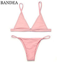 BANDEA bikinis women  Swimsuit Micro Bikini Set Bathing Suits With Halter Strap Swimwear Brazilian bottom Monokini