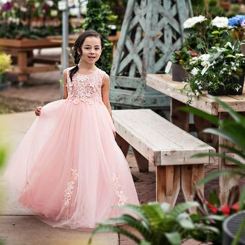 Camellia Pink Floral Gown Dress - Toddler & Girls