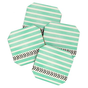 Allyson Johnson Mint Stripes And Arrows Coaster Set